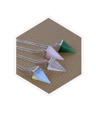 Silver gemstone triangle necklace geometric pendulum long necklace minimalist pyramid pink green clear quartz opalite