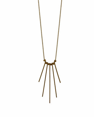 Golden fringe necklace, geometric necklace, minimalist bar pendant
