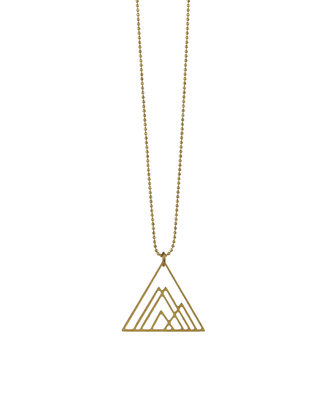 Long triangle necklace geometric golden snowy mountain necklace minimalist scandinavian jewelry graphic pendant, Emma et moi jewellery