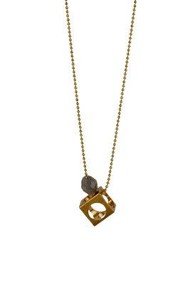 Long cube necklace, geometric pendant, gemstone necklace, golden minimalist stone necklace