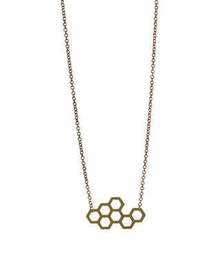Tiny hexagon short necklace honeycomb geometric graphic jewelry minimal pendant