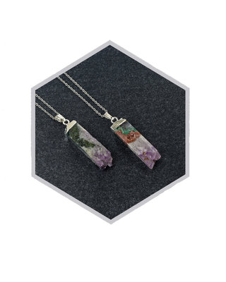 Silver amethyst geo druzy gemstone pendant necklace geometric pendulum long rectangular minimalist green purple quartz