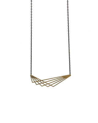 Long geometric lines necklace graphic pendant golden black minimalist