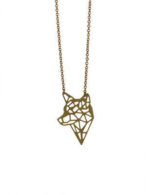 Short Fox necklace golden graphique necklace, minimalist pendant
