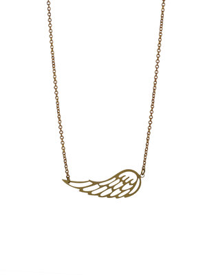 Short graphic necklace, angel wing pendant