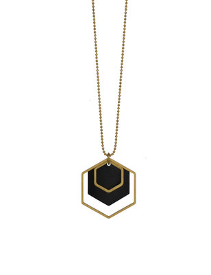Long golden black hexagon geometric necklace