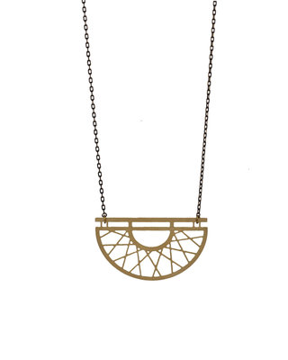 Long geometric golden black half circle necklace