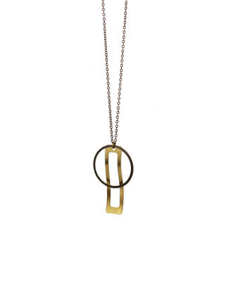 Long geometric golden bronze necklace
