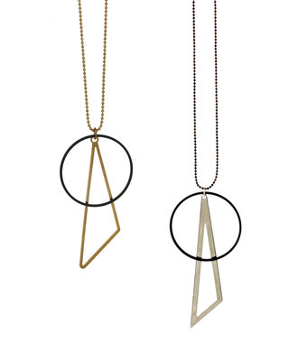 Golden triangle black circle necklace