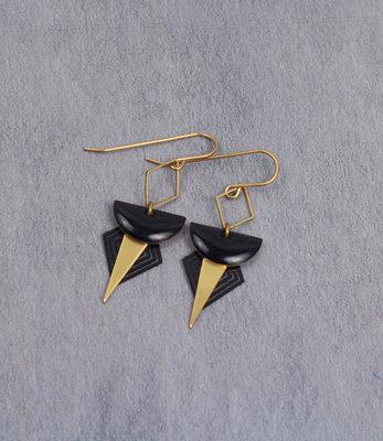 Golden black triangles art deco earrings