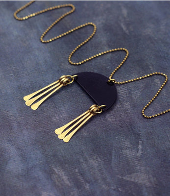 Long black mobile necklace