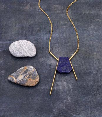 Long lapis lazuli necklace
