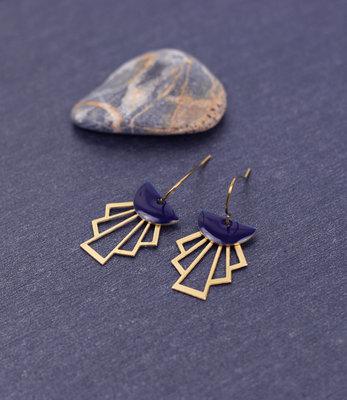 Golden purple art deco earrings