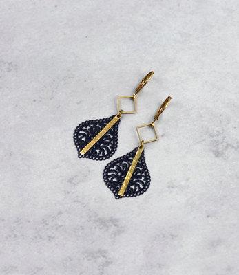 Golden black filigree earrings