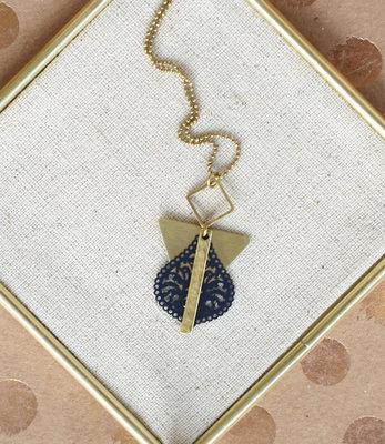 Long geometric black filigree necklace