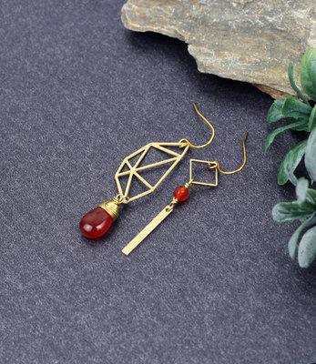 Golden orange polygon asymmetric earrings