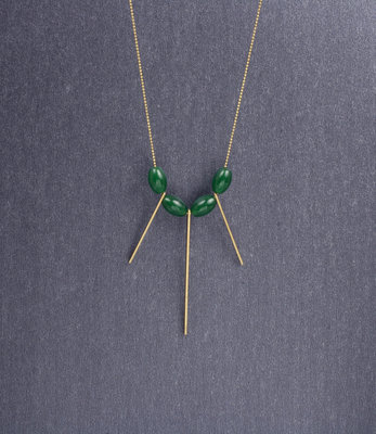 Long jade fan necklace
