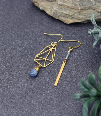 Asymmetric graphic earrings with kyanite drop