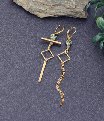 Golden turquoise mismatched earrings