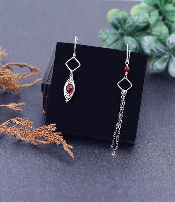 Sterling silver orange eye earrings