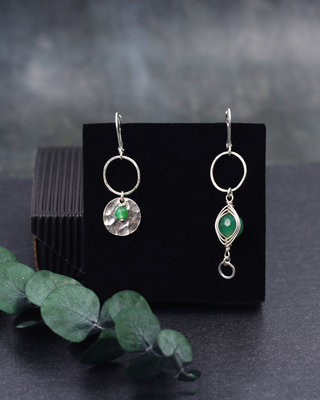 Sterling silver green eye earrings