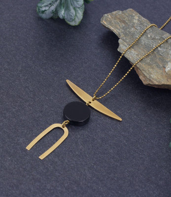 Black crescent necklace