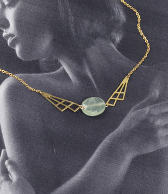 Geometric green pastel necklace