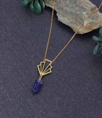 Geometric blue art deco necklace