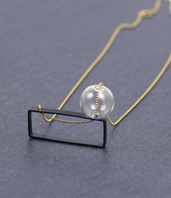 Long Bubble rectangular necklace