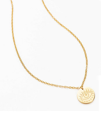 Short protective eye necklace gold