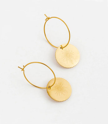 Golden small eye earrings hoops