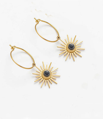 Small golden sun earrings hoops
