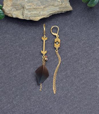 Golden bronze mismatched earrings