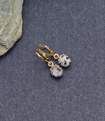 Tiny golden dalmatian jasper earrings