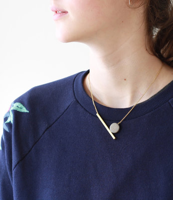 Geometric moon short necklace
