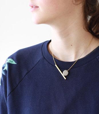 Geometric moon short necklace