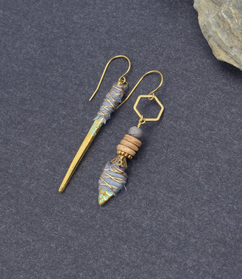 Mismatched boho stick earrings