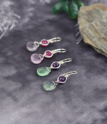 Sterling silver evil eye earrings with amethyste