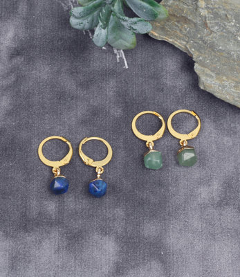 Mini hoops with lapis lazuli