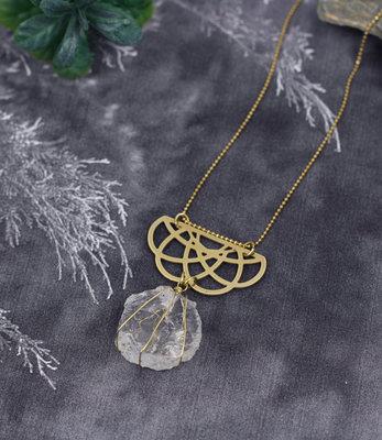 Clear quartz long necklace