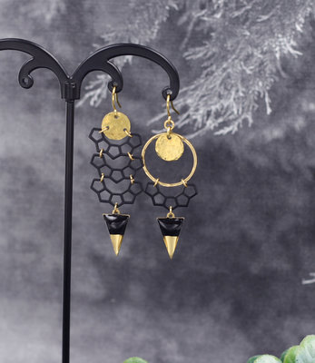 Golden black crescent earrings