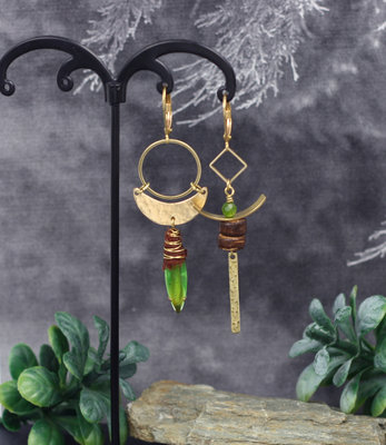 Crescent boho green earrings