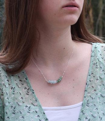Sterling silver birthstones bar necklace