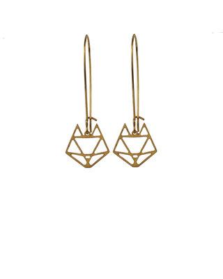 Fox earrings graphic golden dangle minimalist earrings geometric delicate earrings
