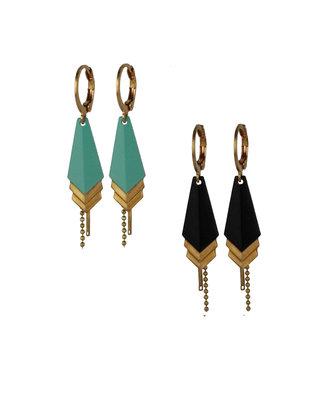 Golden geometric dangle earrings, minimalist tirangles earrings