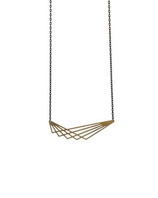 Long geometric lines necklace graphic pendant golden black minimalist