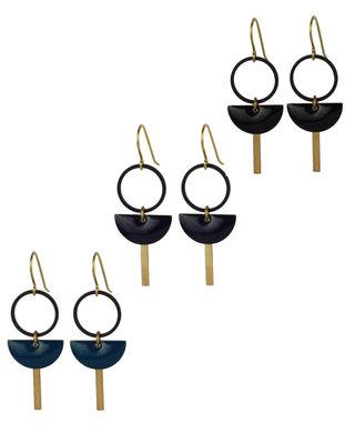 Half moon black geometric earrings
