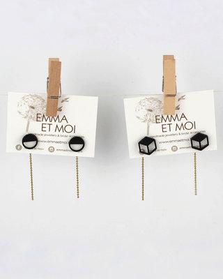 Golden black geometric earrings posts