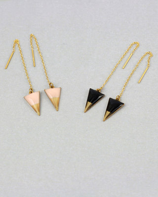 Triangles earrings, plated gold sterling silver