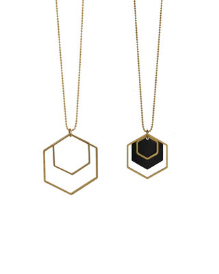 Long golden black hexagon geometric necklace